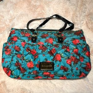 Betsey Johnson green/red floral print diaper bag